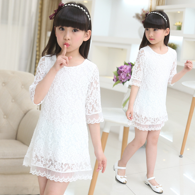 girls dress 2019 new summer lace kids  white large size Round neck Dress 3 4 6 8 10 12  years old baby girl clothes
