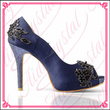 Aidocrystal Noble and elegant deep blue lace flower peep toe 14cm thin high heel wedding shoes for women