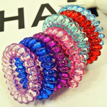 Free Shipping 10Pcs/lot Fashion Cute Candy Color Hair Jewelry Headbands Telephone Line Hair Rope For Women Hair Band