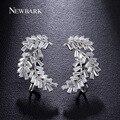 NEWBARK Luxury Earrings For Women Firecracker Brincos Prongs Rectangle Zirconia White Gold Plated Angel Wing Jewelry