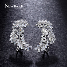 NEWBARK Luxury Earrings For Women Firecracker Brincos Prongs Rectangle Zirconia White Gold Plated Angel Wing Jewelry
