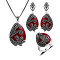 New Fashion Unique Design Silver Plated Antique Jewellery Set Red Resin And Black Rhinestone Vintage Jewelry Sets Women Gift