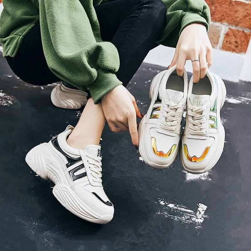 En Marque Chaussures De Cuir Printemps forme Plate multi Femmes Mode Sneakers Zapatos Mujer Casual Femme Véritable Patchwork Lady Noir Pn55xFpwAq