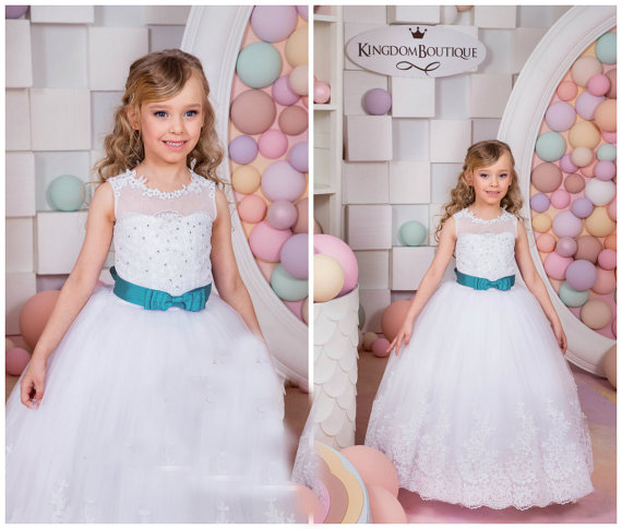 White Flower Girls Dresses For Wedding Gowns Bule Belt Mother Daughter Dresses Tulle Pageant Turquoise Dresses for Girls