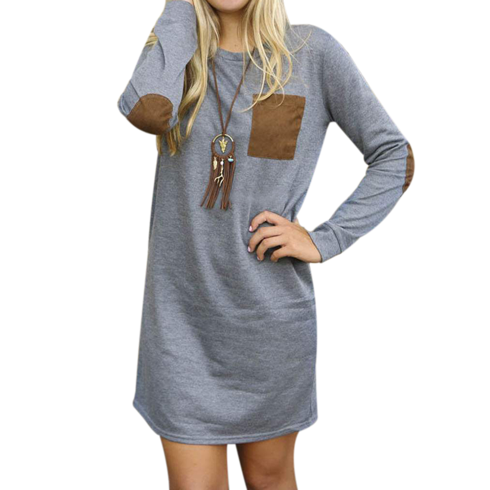 a81f433812e4 Spring Summer Women Top Long Sleeve Casual O Neck Pocket Tops Jumper  Pullover Sweatshirt Mini Dresses Female Loose Dress Shirts