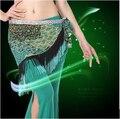 Новый стиль танец Живота костюм ice шелковый кисточкой Павлин индийский живота танец хип шарф для женщин танец живота пояса 4 видов цветов