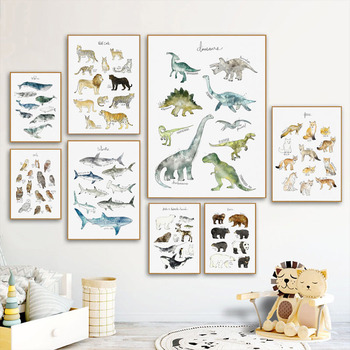 prints Wall Art Canvas Painting Dinosaur Lion Fox Deer Animal Art Prints Nordic Posters And Prints Wall Pictures Baby Kids Room Decor