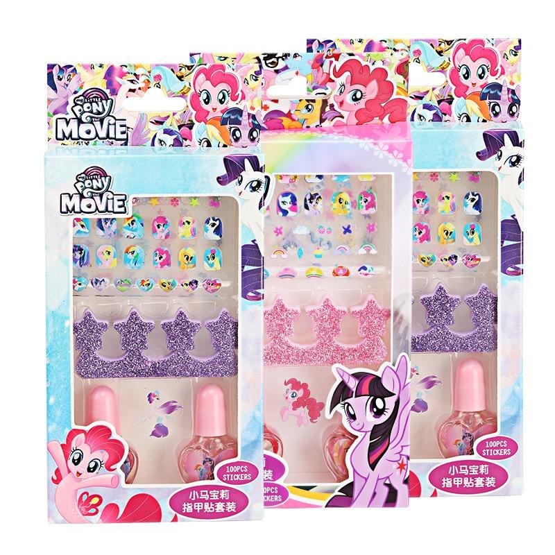 My Little Pony Children S Makeup Toys Frozen Princess Sophia Cartoons Diy Girls Nail Polish Nail Stickers Gift Set Toys Beauty Fashion Toys Aliexpress
