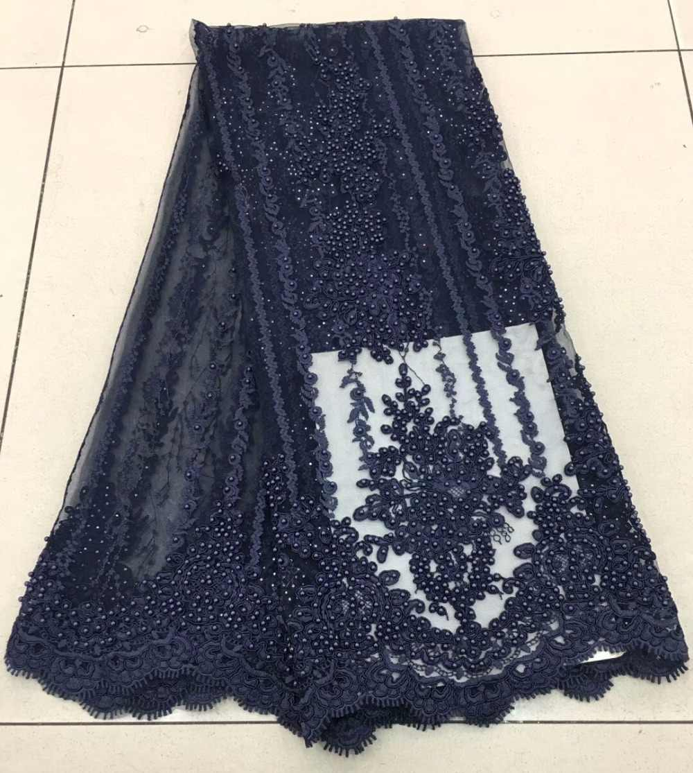 Mode africain dentelle tissu haute qualité rose dentelle nigérian dentelle tissu 2019 haute qualité dentelle avec perlé 5yards RF475