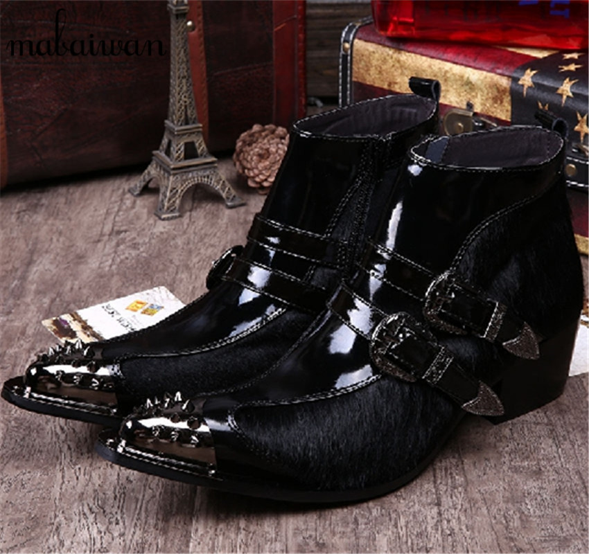 Horsehair Men Ankle Boots Metal Pointed Toe Botas Hombre Buckle Design Side Zipper Cowboy Military Boots Wedding Dress Shoes