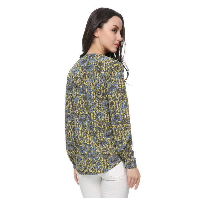 Women paisley pattern blouses plus size vintage long sleeve o neck office work wear shirts casual camisas femininas tops ST2416