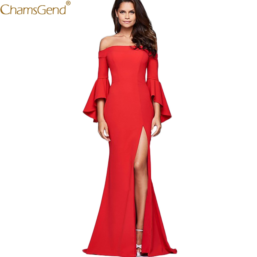 New Women Off Shoulder Long Dress Sexy Red Ladies Solid Bell Sleeve Sexy Word Collar Split Dress Elegant high quality Dec22