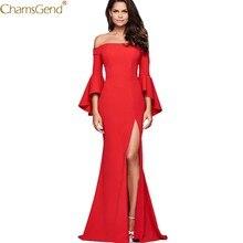 2755a2f4e7b7 (nave da US) Nuove Donne Off Spalla Abito Lungo Sexy Rosso Delle Signore  Solido Manica A Campana Sexy Parola Collare Diviso Vestito Elegante .