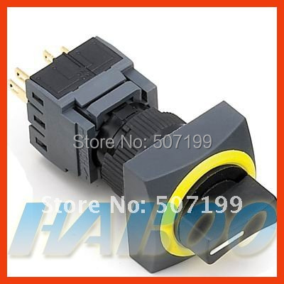 10pcs/lot HABOO 16mm HABOO 2position selector switch 2NO+2NC rotary selector switch 5A/250VAC
