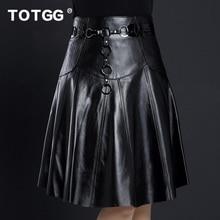 Women's plus size 2017 genuine leather skirt female spring and autumn medium-long sheepskin skirt bust skirt a-line skirt
