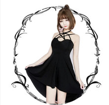2017 Summer Japanese Hard. Women Pentagram Sexy Black Dress Harajuku Fashion Streetwear Cross Strap Gothic Style Mini Dresses