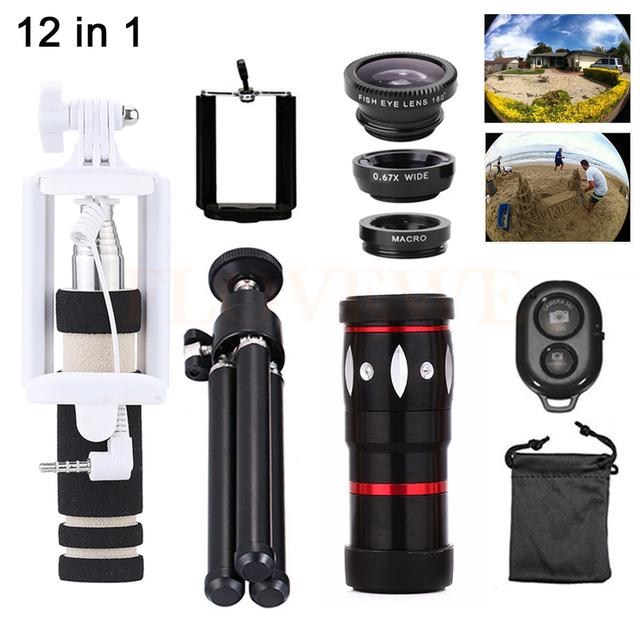 12in1 lente do telefone 10x zoom telefoto lentes + tripé + suporte de selfie vara + lentes olho de peixe grande angular macro para iphone 5 6 s 7 samsung