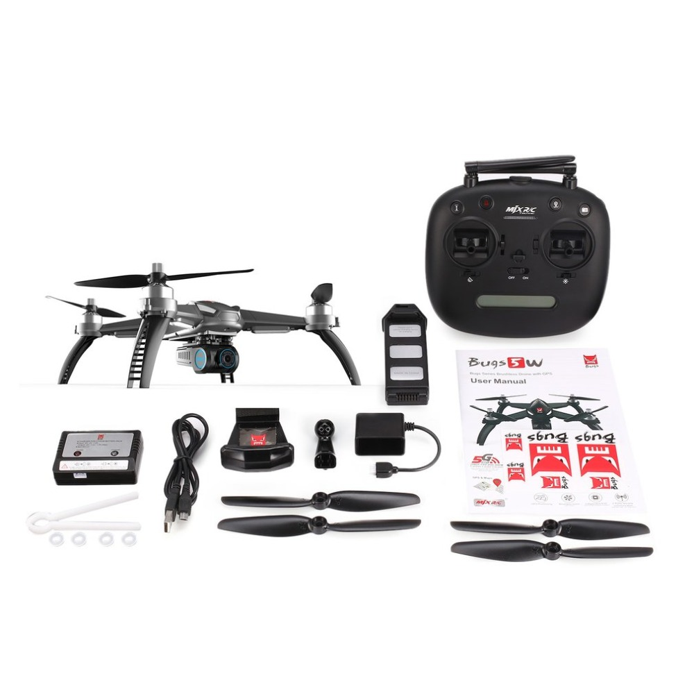 Drone with 1080P camera MJX Bugs 5W 5 W Brushless Motor Quadcopter GPS FPV drone 5G WIFI 1080P Camera Auto Return RC Helicopter mjx x601h crones camera hd wifi drone auto return rc helicopter professional fpv drone quadcopter with camera