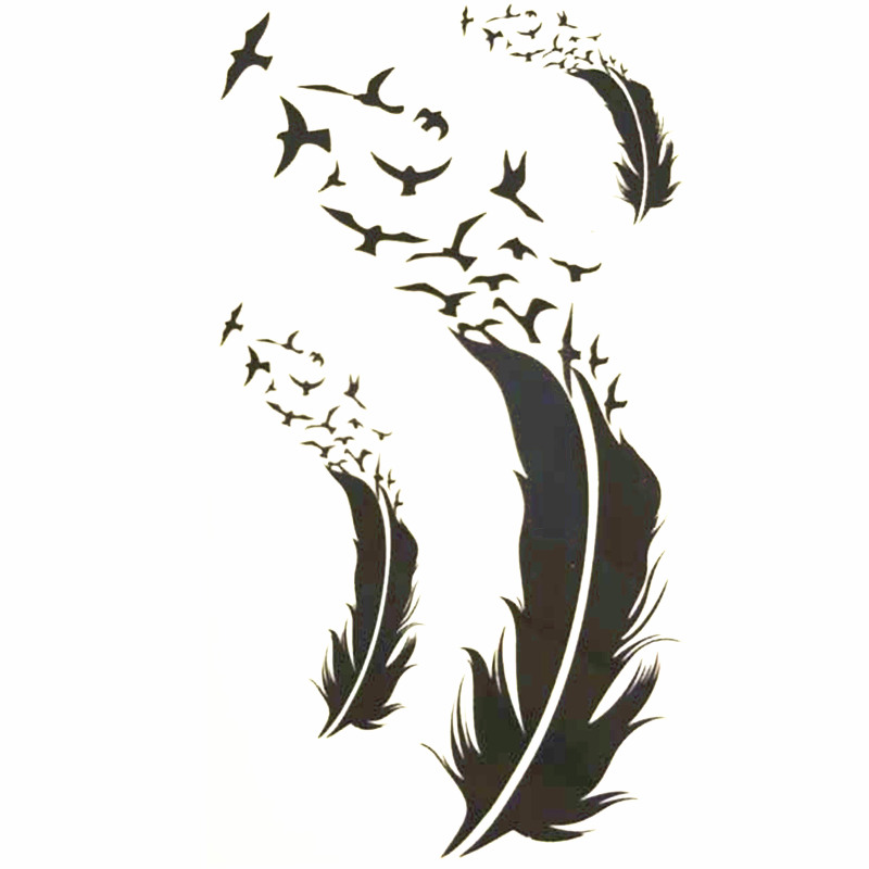 10x6cm Temporary Small Cute Fashion Tattoo Scattered Feathers