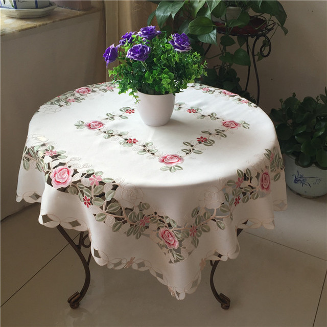 Luxury White Rectangular Satin Table Cloth Mantel Embroidered Transparent  Tea Dining Tablecloth Cover For Garden Wedding