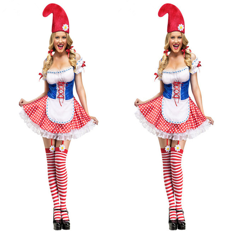 Circus Clown Red Blue Grid Sexy Off Shoulder Dress Halloween Cosplay Costumes Cute -9931