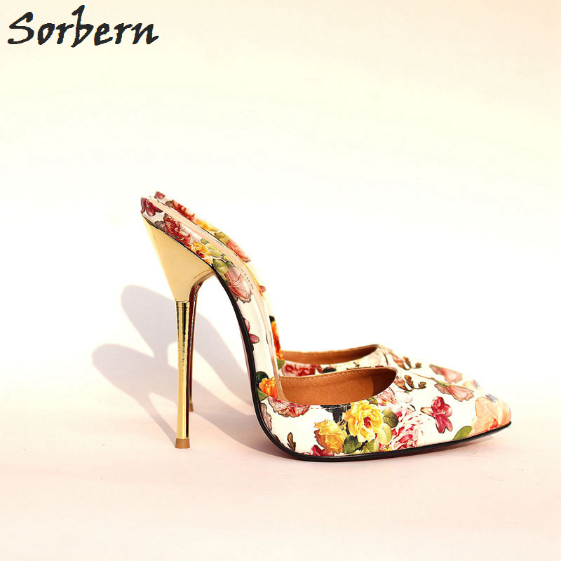 Sorbern Sexy Large Size 40-49 Women Pumps Slip On Mules Ladies Shoes Pumps Metal Heels Sapatos Feminino Stilettos Pointed Toe sorbern real photo colored glitter sequins women pumps slip on rivets ladies shoes women high heels stilettos pumps eu34 46