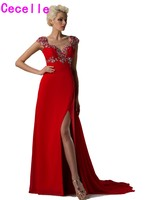 Robe De Soiree 2017 New Arrival Sparkle Red Long A Line Slit Beaded Chiffon Evening Dresses
