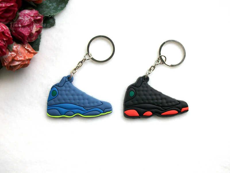 Mini Silicone Jordan 13 del Sacchetto del Keychain di Fascino Donna Uomo Bambini Regali Portachiavi Scarpa Da Tennis Gli Accessori Del Pendente di Chiave di Supporto Chiave catena