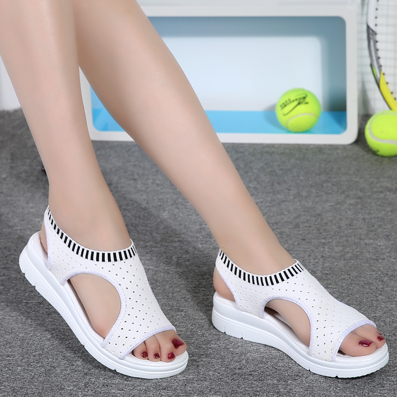 2018 Señoras Sandalias de Verano Planas Salvaje Transpirable Cómodo - Zapatos de mujer - foto 3