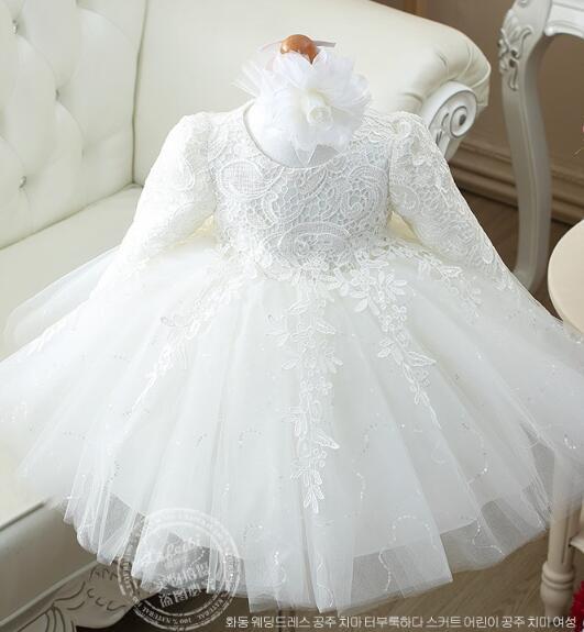 Haute qualité rouge/blanc bébé filles à manches longues 1 an robe d'anniversaire sequin baptême baptême robe de mariée pour bébé