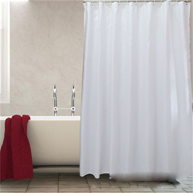 2018 Elegant Waterproof White Polyester Fabric Shower Curtains Liners Thicken Plain Mildew Resistant Washable With