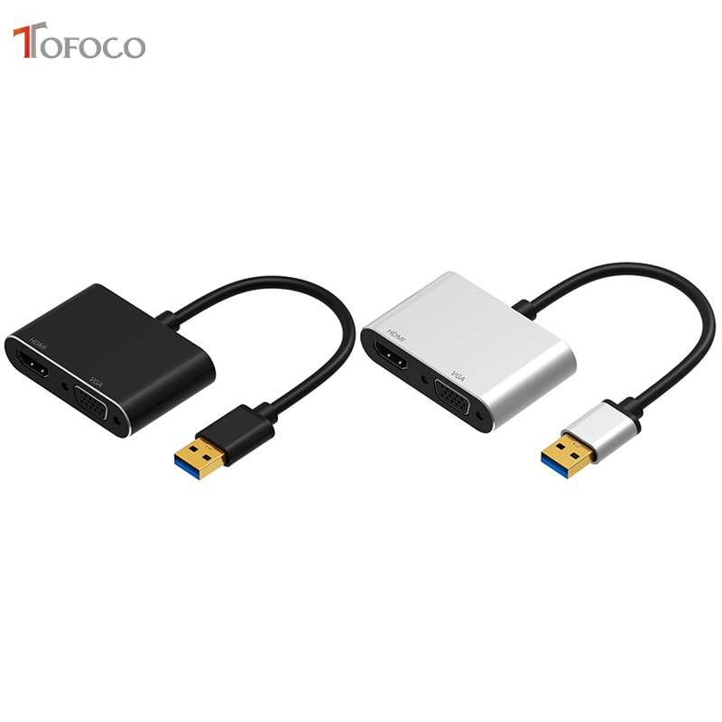 TOFOCO USB3.0 to HDMI VGA Adapter 4K HD 1080P Multi Display 2 in 1 USB to HDMI Converter Audio Video Cable For Macbook Computer