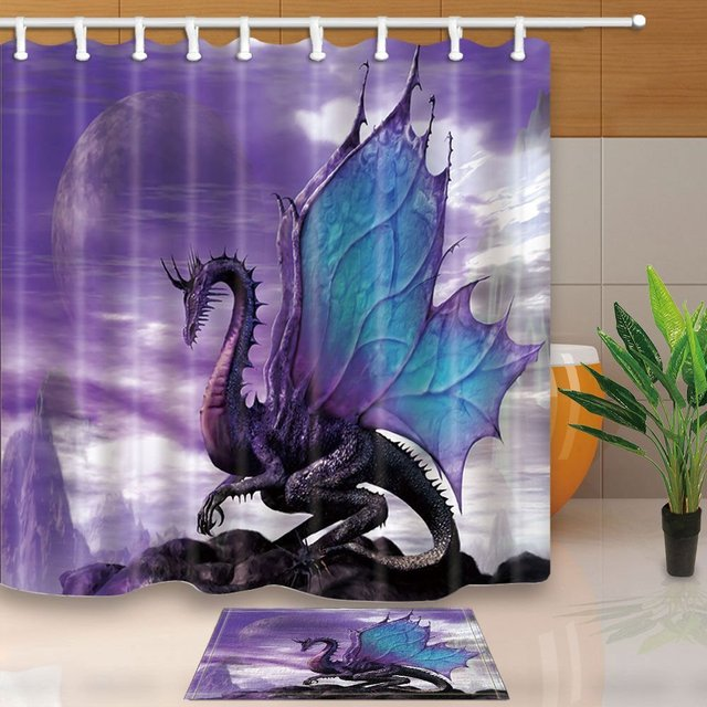 Medieval Fantasy Theme Purple Dragon Waterproof Polyester Fabric Shower Curtain Set Doormat Bath Rugs