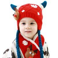 Children Winter Warm Knitting Hat Scarf Set Kids Boys Girls Crochet Cover Ear Cap Xmas Deer