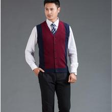 Высокое качество Новое поступление мужской v-образным вырезом без рукавов шерсть пуговица для свитера вниз кашемировый свитер жилет