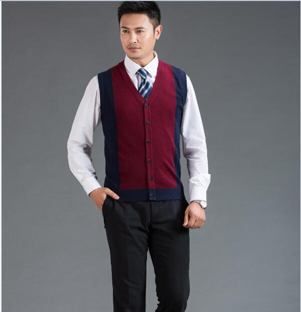 2016 Top Quality New Arrival Mens V-Neck Sleeveless Wool Sweater Button Down Cashmere Sweater Vest