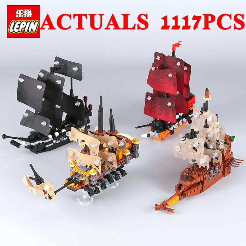 LEPIN Bricks 03058 Pirates Ship Model 4 In 1 Set Black Pearl Empress Slient Mary Queen Anne's Reveage Building Blocks Christmas kazi pirates ship building blocks sets black pearl diy model 652pcs bricks christmas gifts toys for children birthday