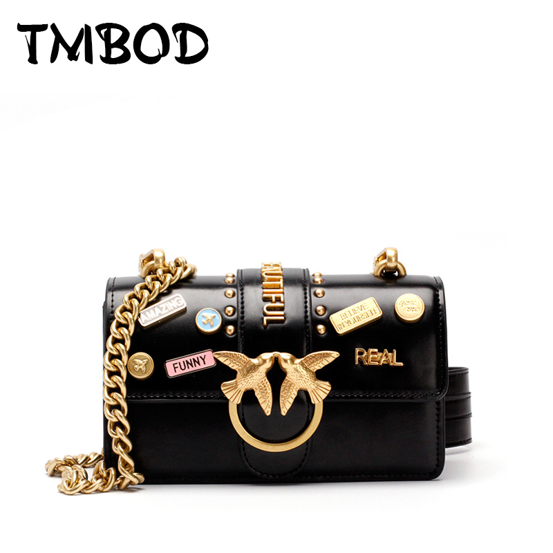 New 2018 Design Women Chain Letter Flap with Birds Messenger Bag Split Leather Handbags For Female Shoulder Bag bolsas an1016 supply chain design with product life cycle considerations