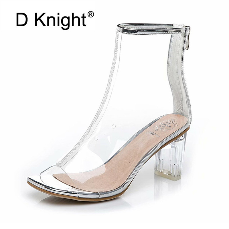 Hot New Women PVC Ankle Boots Open Toe Crystal Heel Transparent Women Boots Clear High Heels Summer Shoes For Woman Black Silver new arrival pvc transparent shoes woman open toe clear strange heel pumps woman fashion party shoes
