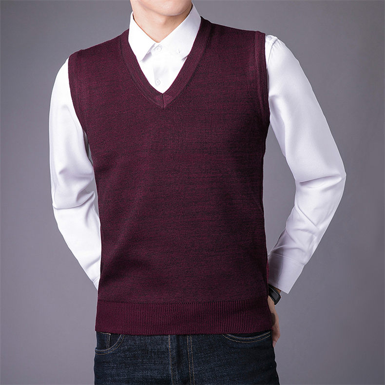 Men Sweater Vest Male Winter Knitted Sleeveless Sweater Men Pullover Flexible V-neck Jumper Autumn 1111 Global Shopping Festival 1