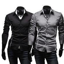 Мужская облегающая индивидуальная отделка уникальная горловина стильное платье с длинным рукавом мужские рубашки
