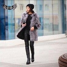 Bffur 2017 лиса Мех пальто мода Натуральный Мех Натуральная Silver Fox Натуральный мех Пальто и пуховики для Для женщин зимняя верхняя одежда узкого кроя в полоску пальто BF-C0006