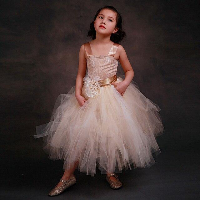 71224381c2846  Aamina  Champagne couleur élégante fille robe princesse Tulle fleur fille  robes de mariée enfants