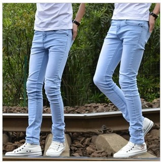Summer male Sky Blue jeans slim skinny pants trousers pencil tights - shao qing's store