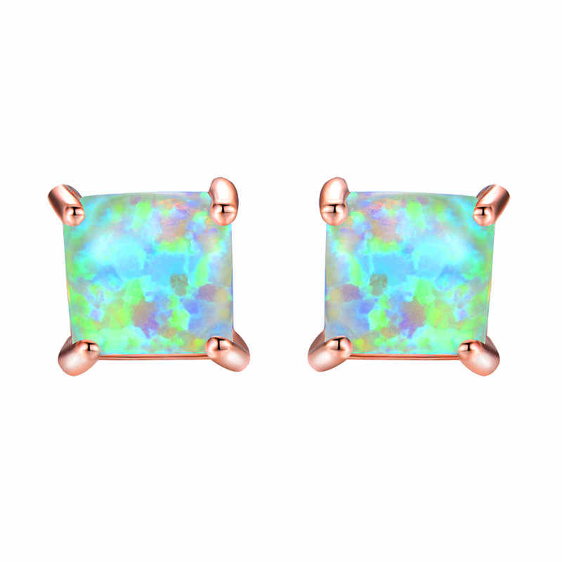 4/5/6/7MM Princess Cut Crystal Square Stud Earrings For Women Men Silver Rose Gold Color Black CZ White Blue Fire Opal Earrings