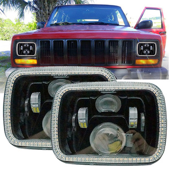 5x7'' Auto square led headlamp 5x7 inch led Truck headlight  for Jeep Wrangler YJ Cherokee XJ with White DRL Amber turn signal