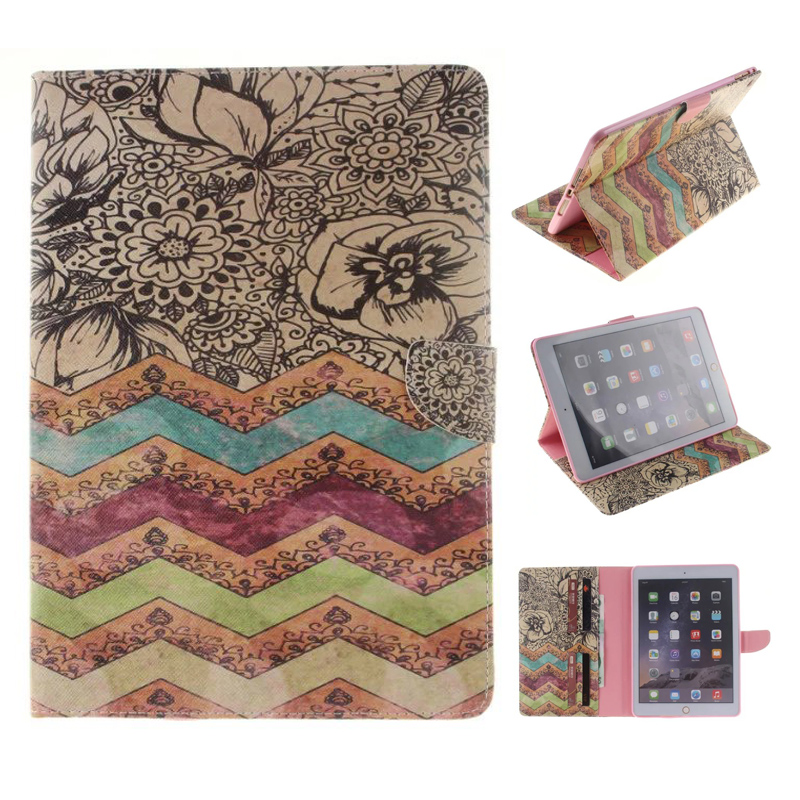 все цены на  New Wave Flower Wallet Case for iPad Air 2 iPad 6 Filp Stand PU Leather Case Cover for Apple iPad Air 2 with Card Slot  онлайн