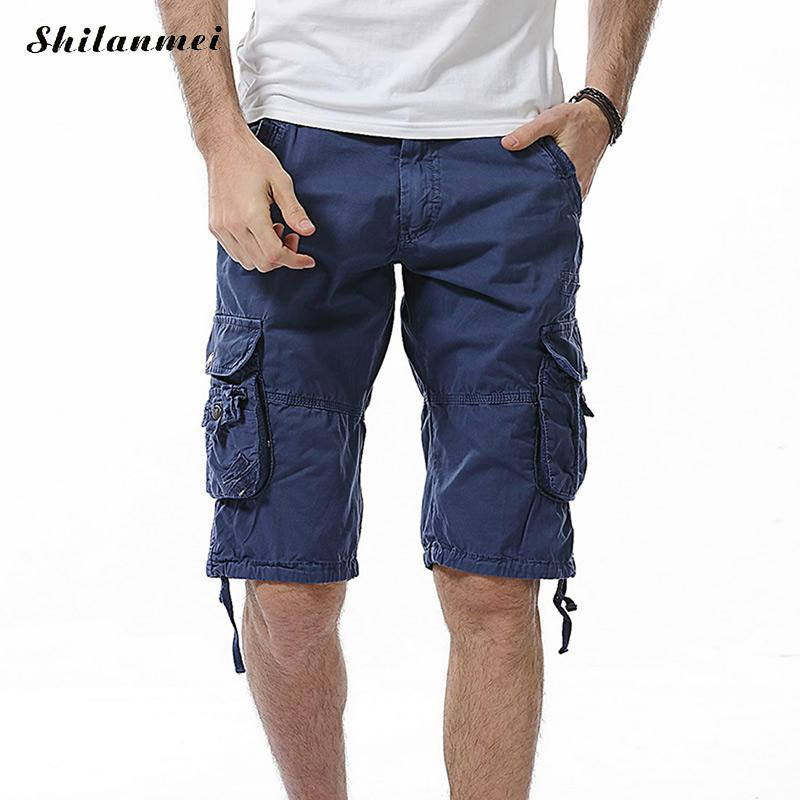 Hot Mens Cargo Shorts Homme 2018 Brand New Army Camouflage Shorts Men Loose Work Casual Short Pants Plus Size No Belt 29-40