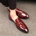 Nuevo Estilo Italiano de Cuero Genuino de Los Hombres Zapatos de Vestir de Moda de Cuero de Negocios Hombres Zapatos Oxford Zapatos de los planos de Los Hombres de Calidad Superior de La Boda