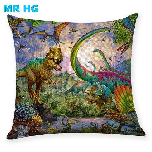 Coperture per Cuscini Regalo Dinosauro lino federa di Un lato di stampa Casa Dec
